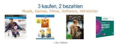 Amazon 3 Artikel kaufen, 2 bezahlen
