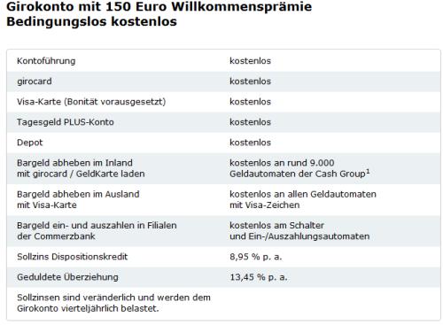 150 Euro Willkommensprämie zum Comdirect Girokonto
