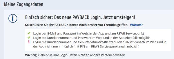Sicherheit der Payback Zugangsdaten erhöhen