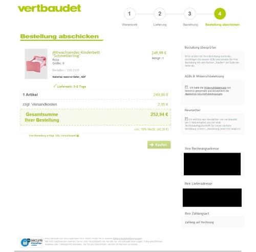 Screenshot - Vertbaudet Bestellung abschicken