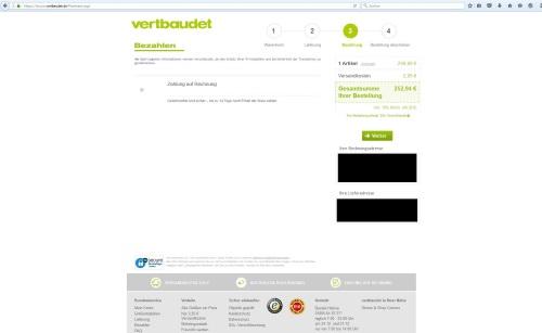 Screenshot - Vertbaudet Bestellvorgang Bezahlung