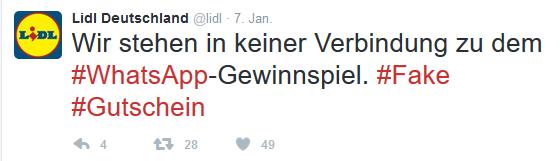 FAKE: Lidl Gutschein bei Whatsapp