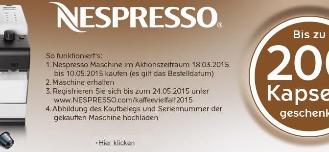 Bis zu 200 Nespresso Kapseln geschenkt