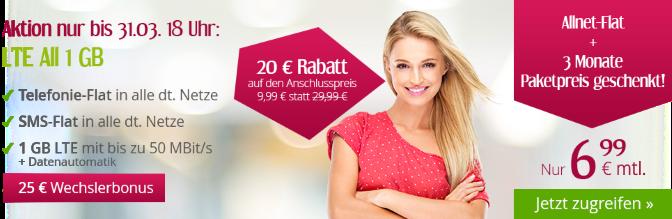 All-Net-Flat mit 1 GB Datenvolumen für nur 6,99 Euro